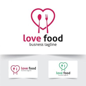 Modèle de logo de nourriture d'amour
