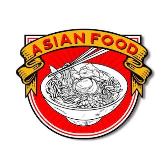Modèle de logo de la nourriture asiatique