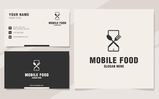 Modèle de logo de nourriture mobile sur le style monogramme