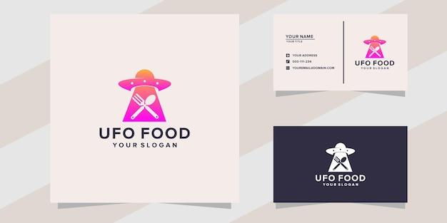 Modèle de logo de nourriture ovni