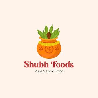 Modèle de logo de nourriture pure satvik de shubh foods