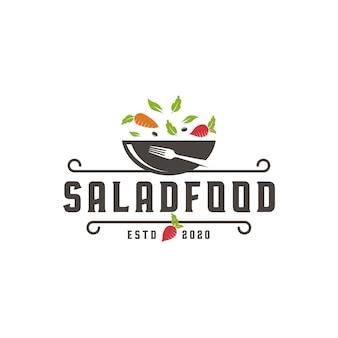 Modèle de logo de nourriture de salade