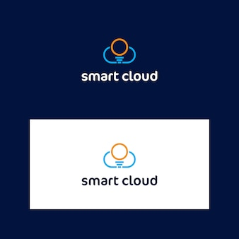 Modèle de logo nuage et lampe