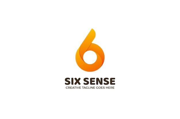 Modèle de logo numérique numéro 6