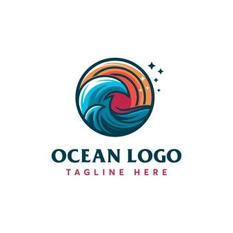 Modèle de logo d'océan