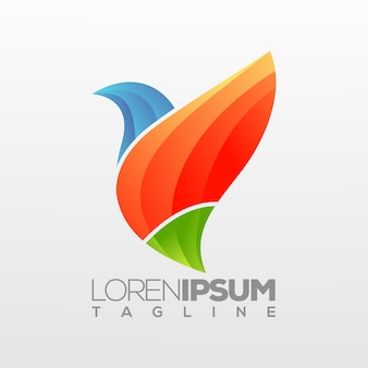 Modèle de logo oiseau abstrait
