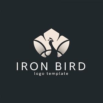 Modèle de logo oiseau blanc minimaliste