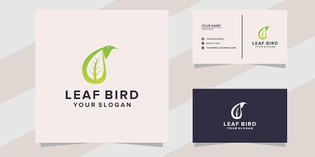 Modèle de logo oiseau feuille