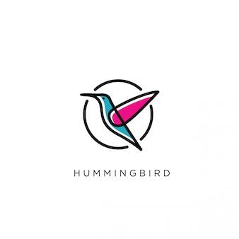 Modèle de logo oiseau humming moderne