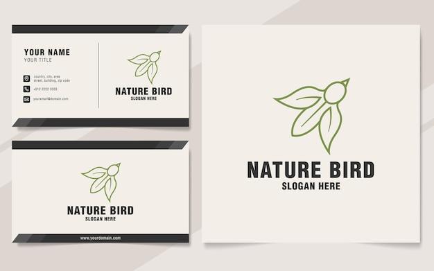 Modèle de logo d'oiseau nature sur le style monogramme