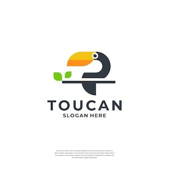 Modèle de logo d'oiseau toucan créatif
