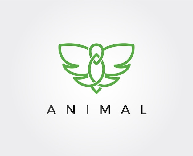Modèle de logo d'oiseau volant minimal