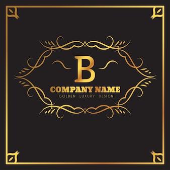 Modèle de logo d'or. emblème de lettre monogramme b.