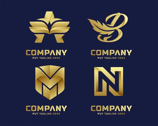Modèle de logo or initial de lettre abstraite de luxe premium