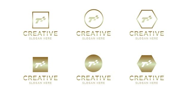 Modèle de logo or initiales t race