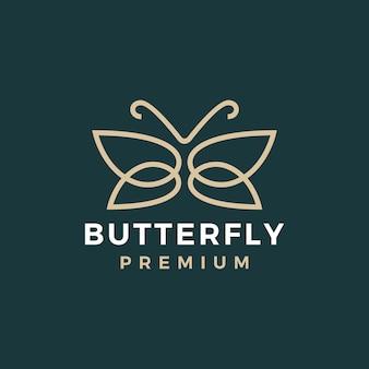 Modèle de logo or papillon