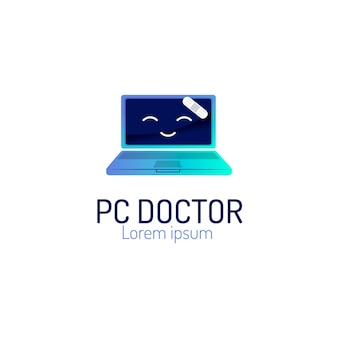 Modèle de logo d'ordinateur portable dégradé