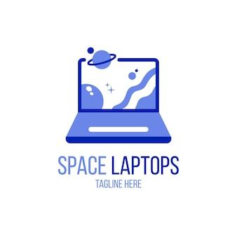 Modèle de logo d'ordinateur portable plat créatif