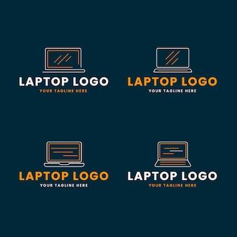 Modèle de logo d'ordinateur portable plat linéaire