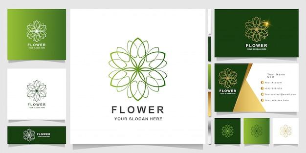 Modèle de logo d'ornement de fleur élégant minimaliste avec conception de carte de visite