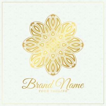 Modèle de logo d'ornement floral de luxe