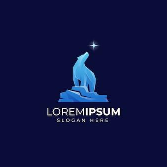 Modèle de logo ours bleu