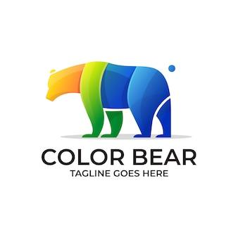 Modèle de logo ours coloré