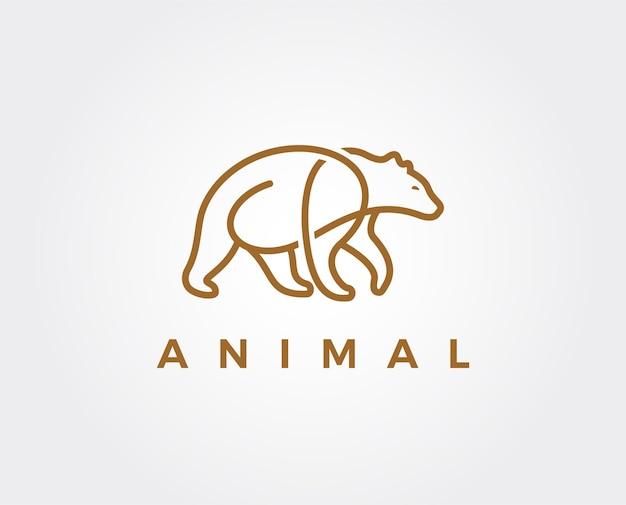 Modèle de logo d'ours minimal