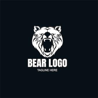 Modèle de logo ours noir et blanc