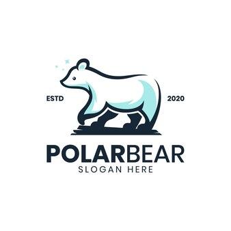 Modèle de logo ours polaire vintage moderne