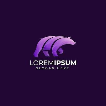 Modèle de logo ours violet