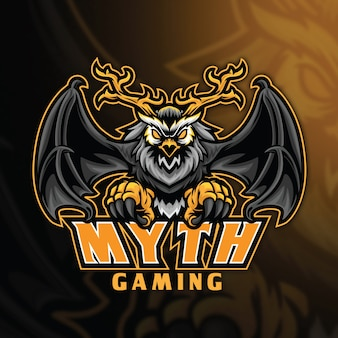 Modèle de logo owl myth esport