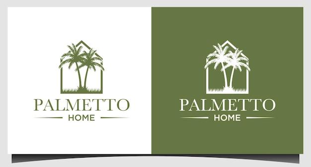 Modèle de logo palmetto et maison