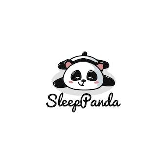 Modèle de logo de panda de sommeil