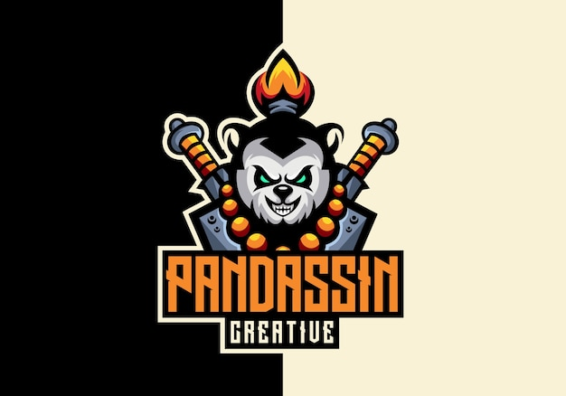 Modèle de logo panda sport mascot creative awesome