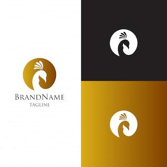 Modèle de logo de paon. elagant de luxe féminin pour la marque cosmétique
