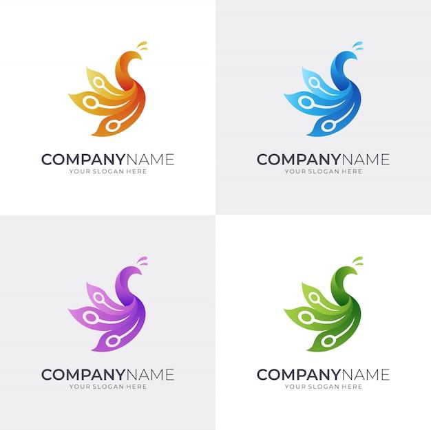 Modèle de logo de paon simple
