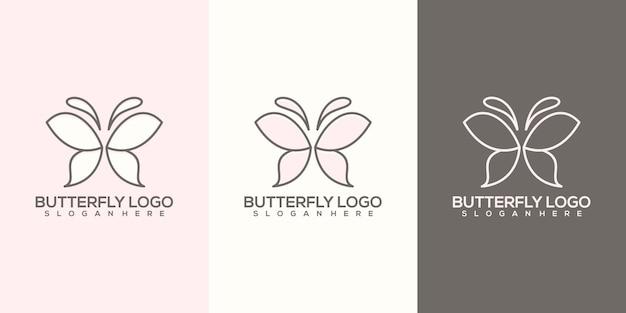 Modèle de logo papillon abstrait féminin