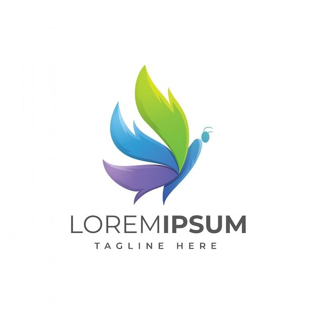 Modèle de logo de papillon coloré