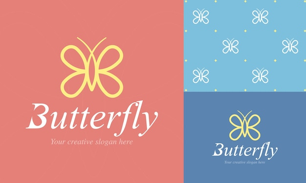 Modèle de logo papillon élégant