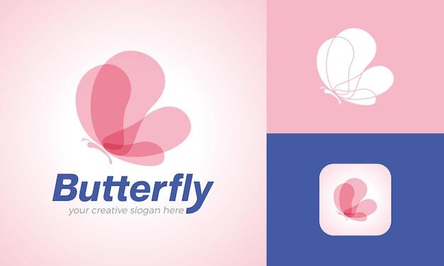 Modèle de logo papillon moderne aux couleurs pastel