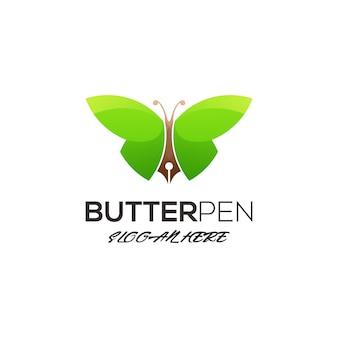 Modèle de logo papillon avec stylo