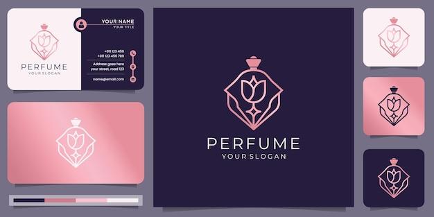 Modèle de logo de parfum créatif en or rose. logo de parfum de bouteille de luxe et conception de carte de visite.