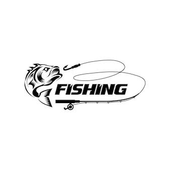 Modèle de logo de passe-temps de pêche en noir fish hunter