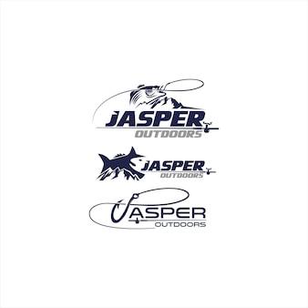 Modèle de logo de pêche en plein air jasper