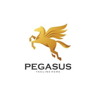 Modèle de logo pegasus aile de cheval volant doré