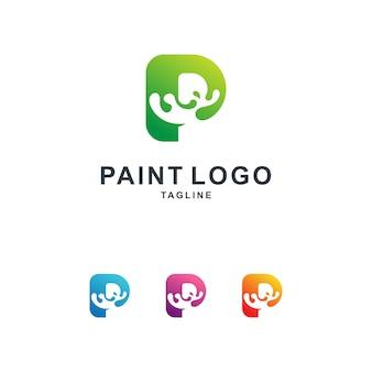 Modèle de logo de peinture colorée avec la lettre p