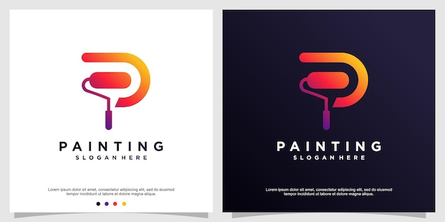 Modèle de logo de peinture avec le concept p initial vecteur premium