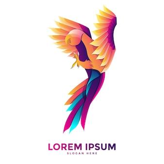 Modèle de logo de perroquet coloré