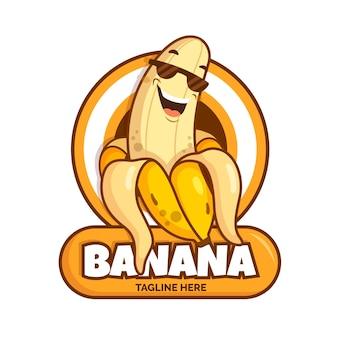 Modèle de logo de personnage de banane cool